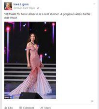 Phạm Hương đứng đầu bình chọn trên trang facebook Hoa hậu Hoàn vũ 2015