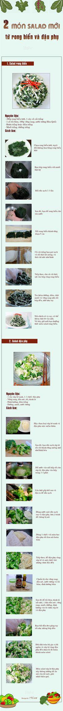 2 món salad mới lạ từ rong biển và đậu phụ