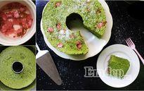 Phong vị Nhật trong bánh bông lan trà xanh hoa anh đào
