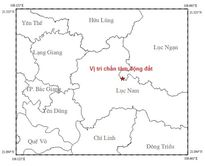 Xảy ra động đất 3,2 độ Richter tại khu vực Lục Ngạn-Bắc Giang