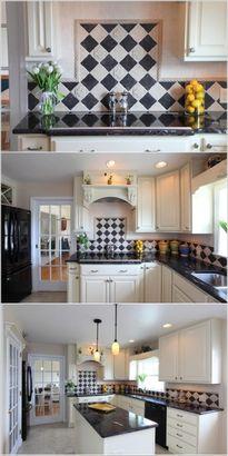 Phòng bếp cá tính với họa tiết ca rô