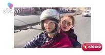 Tiến Đạt tình cảm chở bạn gái hot girl du lịch bằng xe máy