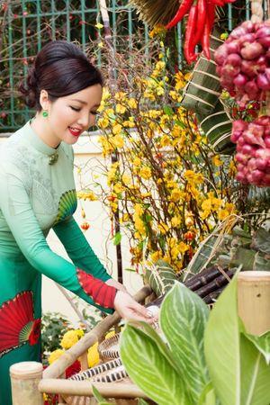 Hoa hậu Giáng My làm chợ hoa xuân tại nhà đón Tết Nguyên đán 2016