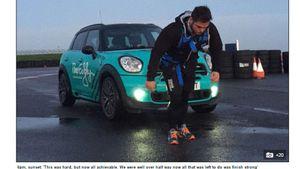 Chàng trai kéo xe 1,4 tấn trong 19 giờ để gây quỹ từ thiện