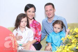 Hình ảnh ấm áp của Hồng Nhung bên chồng con trong ngày Tết