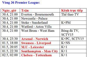 Lịch truyền hình trực tiếp bóng đá ngày 30.4, 1.1 và 2.5