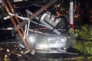 TP. HCM: Mưa to gió lớn kéo đổ trụ điện, đè lên 7 chiếc ôtô