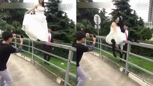 Mạo hiểm tạo dáng chụp ảnh cưới, cô dâu khóc thét đau đớn