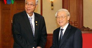 Tổng Bí thư Nguyễn Phú Trọng tiếp Tổng thống Myanmar