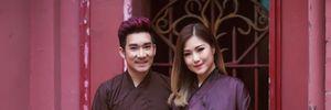 Quang Hà,Hương Tràm mặc áo nâu sòng đi lễ chùa đầu năm