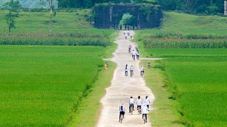 Học sinh đạp xe đến trường dọc những cánh đồng lúa, ngô xanh mướt.