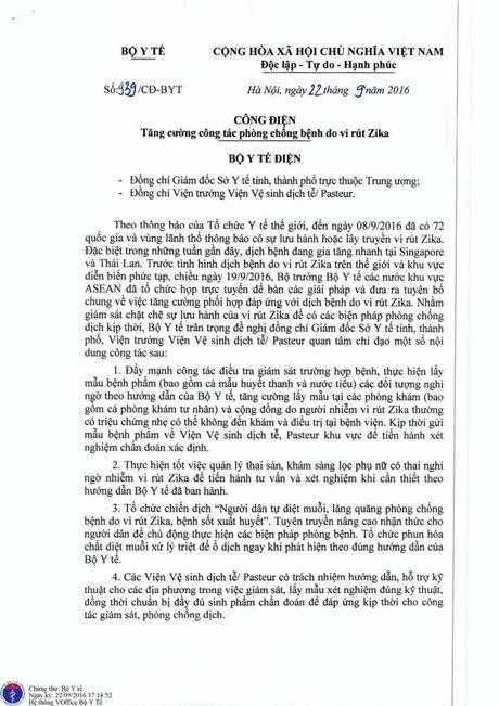 Bo Y te gui cong dien khan yeu cau tang cuong cong tac phong chong vi rut Zika - Anh 1