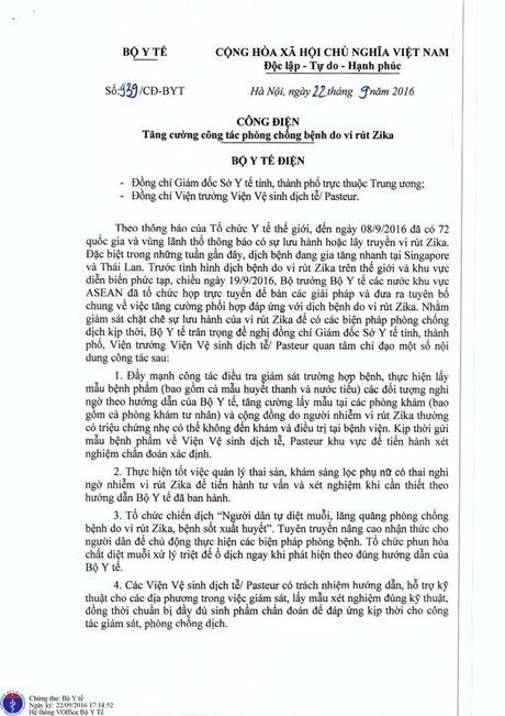 Bo Y te gui cong dien khan yeu cau tang cuong cong tac phong chong virus Zika - Anh 1