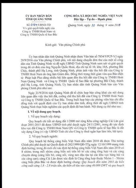 Vu thu hoi dat cua Cong ty Sao Bac va Hoai Nam: Tinh Quang Ninh bao cao len Chinh phu nhu the nao? - Anh 2