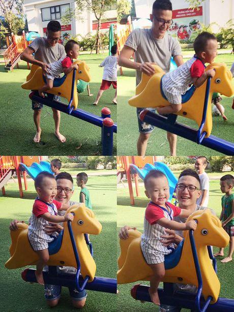 Sau ly hon, Chi Nhan lien tuc chia se anh cham soc con trai - Anh 5