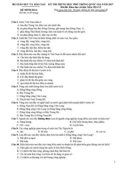 De thi THPT quoc gia minh hoa 4 mon: Sinh, Su, Dia, GDCD - Anh 12