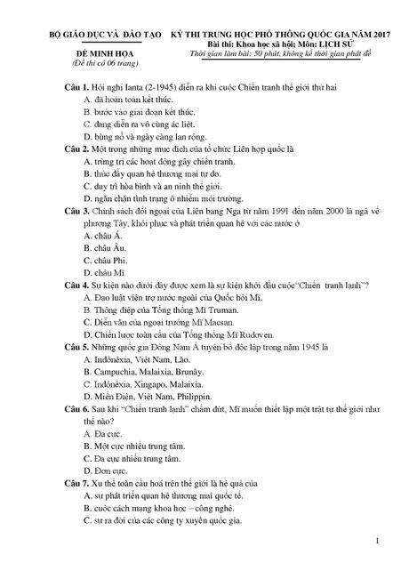 De thi THPT quoc gia minh hoa 4 mon: Sinh, Su, Dia, GDCD - Anh 6
