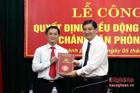 Trao quyet dinh bo nhiem Chanh Van phong Tinh uy Nghe An - Anh 1