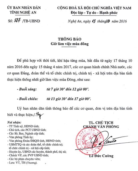 Tu 17/10/2016, cac co quan Nha nuoc lam viec theo gio mua Dong - Anh 1
