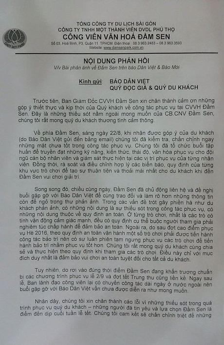 Vu 'Toat mo hoi' voi thai do phuc vu tai Dam Sen: Se kiem tra, chan chinh thong tin bao phan anh - Anh 1