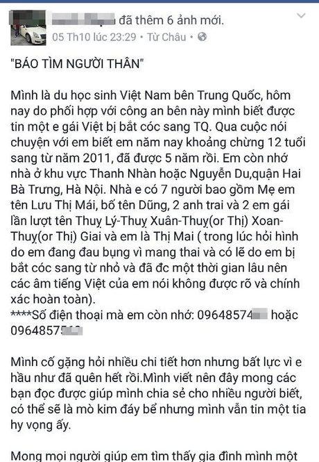 Vu be gai 12 tuoi di kham thai: Canh sat TQ dang tam giu be gai 12 tuoi nguoi Viet mang thai - Anh 5