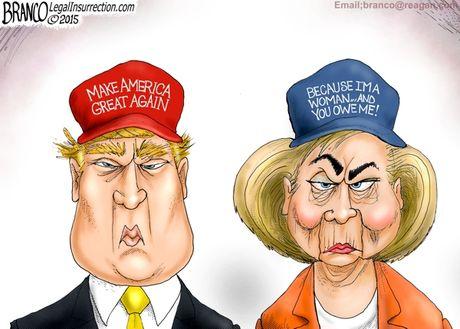 Man doi dau giua Trump va Clinton qua tranh biem hoa - Anh 1