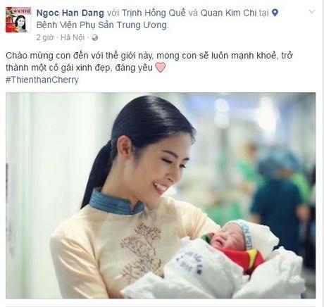 Hong Que sinh con gai dau long, Hoa hau Ngoc Han tuc truc ben dan em - Anh 2