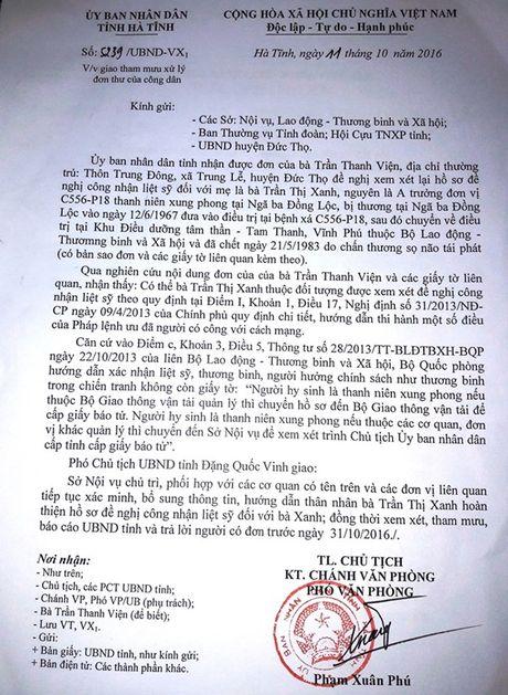Ha Tinh chi dao giai quyet cong nhan liet sy cho nu TNXP Nga ba Dong Loc - Anh 1