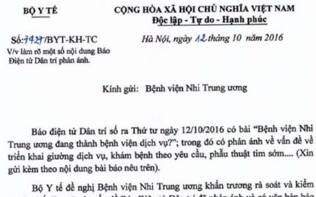 Bo Y te yeu cau BV Nhi lam ro van de gia dich vu cao nhat nuoc - Anh 1