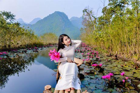Thieu nu khoe sac xuan mon mon ben ho hoa sung - Anh 5