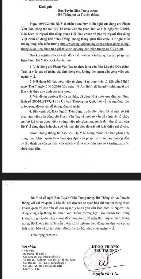 Man ban nhung 'khiem khuyet' ve xu ly vu viec cua ong Pham Van Tac, Vu truong Vu To chuc can bo - Bo Y te - Anh 2