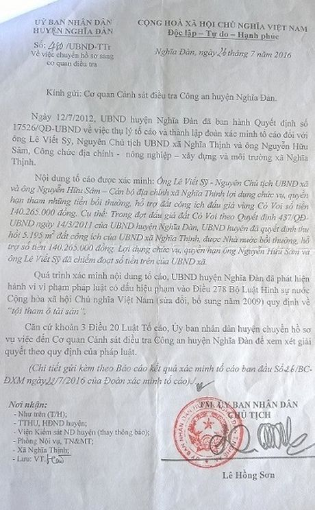 "Chu tich va can bo dia chinh xa ""an"" 140 trieu dong tien den bu - Anh 1"