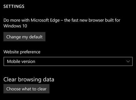 Ban build moi cho Windows 10 Mobile da cho phep chon trinh duyet mac dinh - Anh 1