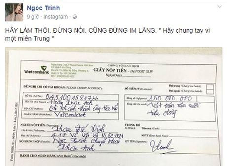 Tiep noi MC Phan Anh, Ngoc Trinh ung ho nguoi dan mien Trung 150 trieu dong - Anh 2