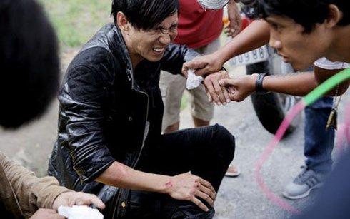 Lý Hải gặp tai nạn khi thực hiện cảnh quay rượt đuổi bằng mô tô